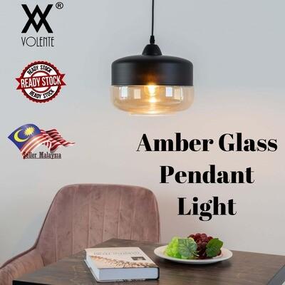 Modern Amber Shade Glass Metal Globe Pendant Ceiling Light Bar Bedroom Living Room