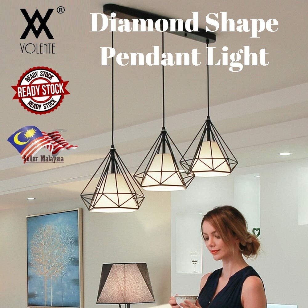 Vintage Style Pendant Ceiling Light Geometry Diamond Shape Bar Dining Bedroom Living room LED Light