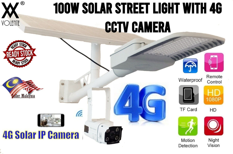 Waterproof 100W Solar Street Light with Solar Power 4G HD CCTV IP Camera