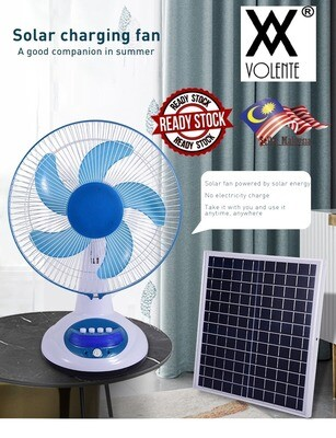 "​15W SOLAR PORTABLE STAND FAN 12"" BLADE WITH SMALL LIGHTING AND 3 SPEED"