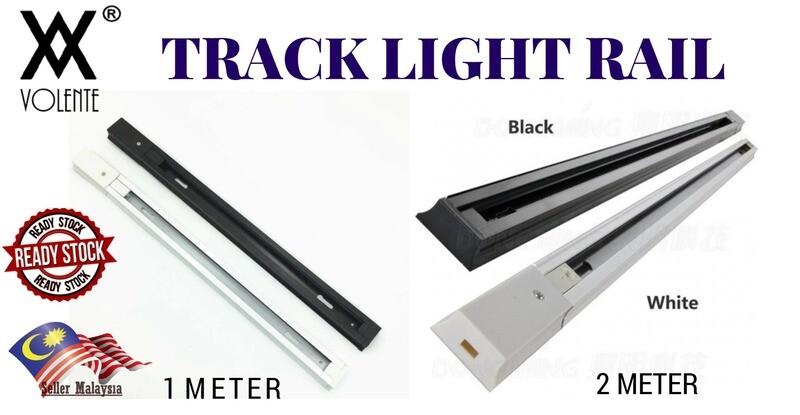 (1 Meter / 2 Meter) 2 Wires Track Lights Rail,Lighting Fixtures Track for LED Track Lamps White Black Color