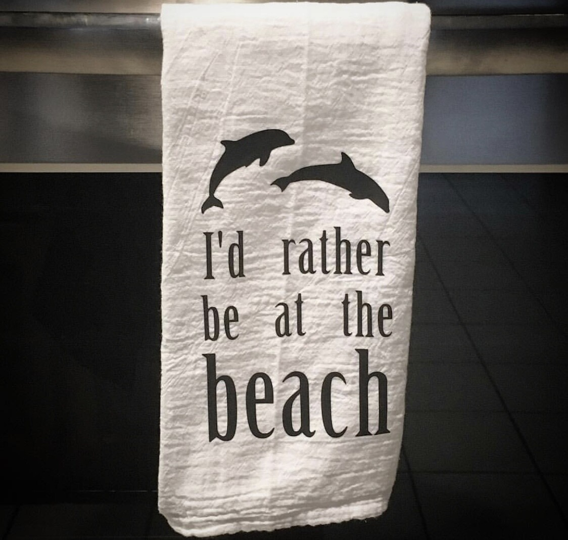 I'd rather be at the beach tea towel