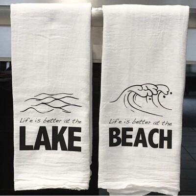 Lake and beach tea towel