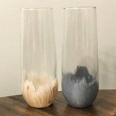 Hand painted stemless champagne glass
