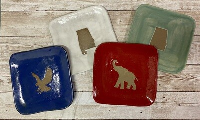 Square dish-Alabama, eagle, elephant