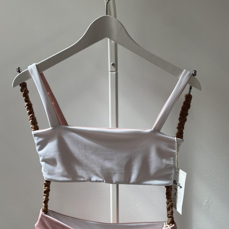 Bella Top (SIZE M) White + Pink