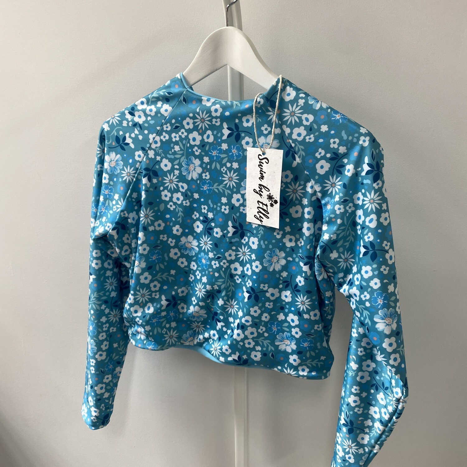 Daisy Top Cropped Long Sleeve (SIZE XL) Blue Floral + Sky