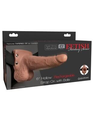 FETISH FANTASY - EXTENSION DE 6'' RECHARGABLE STRAP-ON
