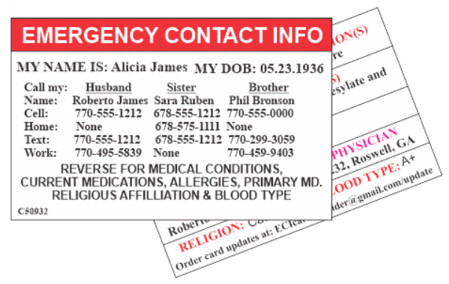 Emergency Contact Information Card