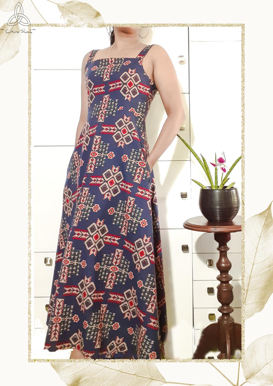 Blue Crusader Linen Maxi Dress