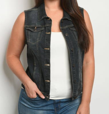 Denim Button Up Vest