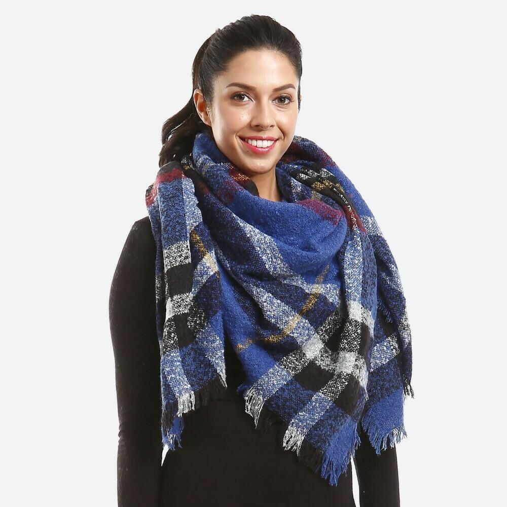 Blue, Gray, and Yellow Plaid Blanket Shawl