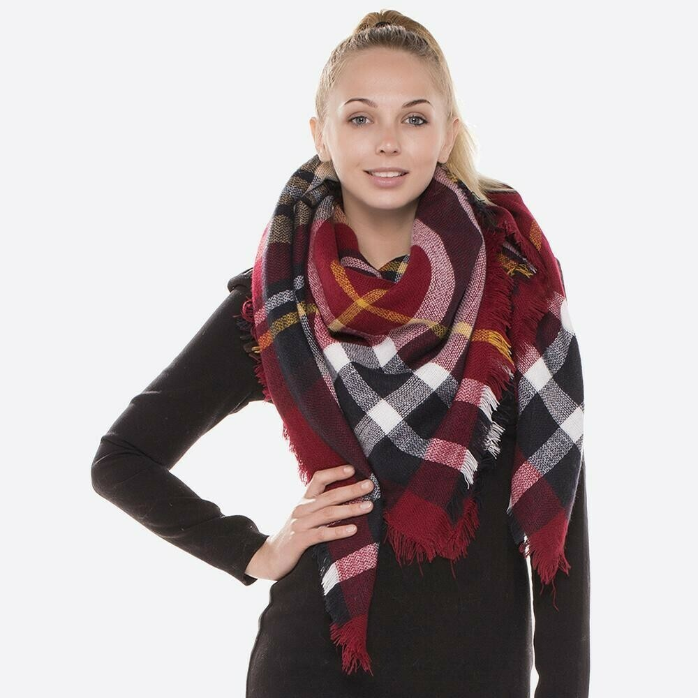 Red and Navy Plaid Blanket Shawl