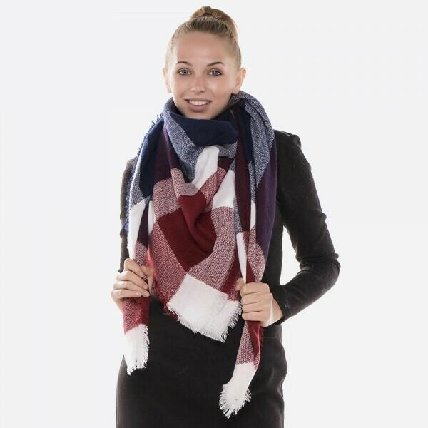 Navy, Burgundy, White Plaid Blanket Shawl