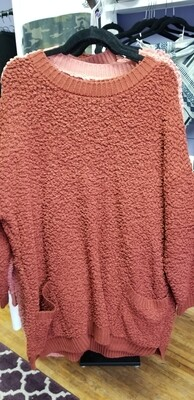 Oversized Popcorn Sweater with Pockets