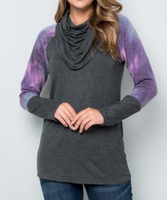 Purple Tie Dye Cowl Neck