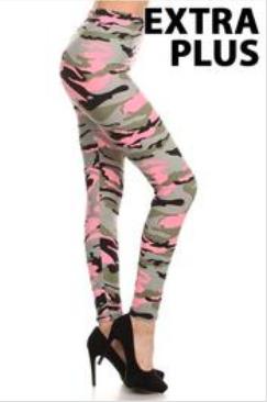 Pink Camo Leggings- Extra Plus