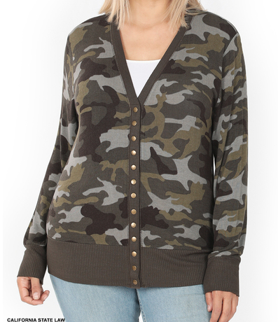 Button Up Camo Sweater
