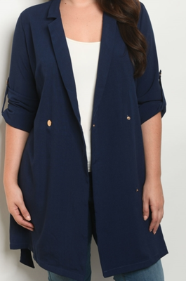 Rolled Sleeve Jacket with Buttons and Tie