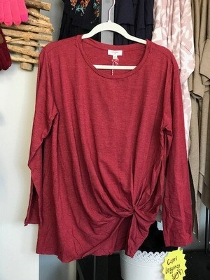 Burgundy Knotted long sleeved shirt