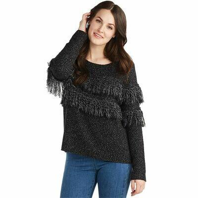 Fringe Sweater Black S