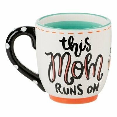 Glory Haus This Mom Runs On Coffee Mug