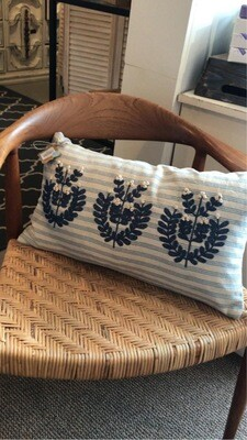 Mudpie Lumbar Applique Blue Striped Pillow
