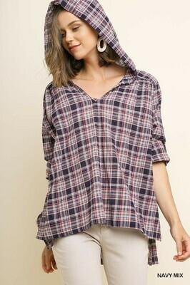 Plaid High Low Hooded