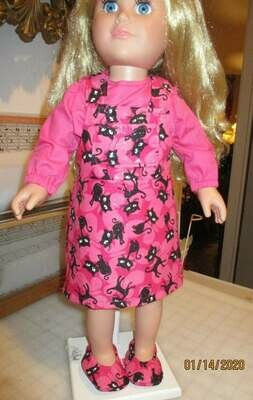 Glittery Pink Jumper with Matching Slip On Shoes, Pink Shirt and Pink Panties for 18