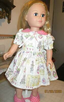 Pink Easter Egg Print Doll Dress with Slip on Shoes for 18