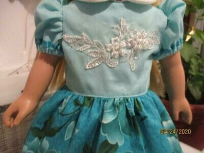 Spring Floral Doll Dress With built in slip, Blue panties, and Matching Slip on Shoes for 18