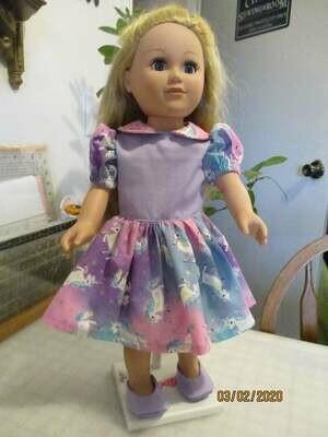 Unicorns on rainbow print Cotton Dress fits 18