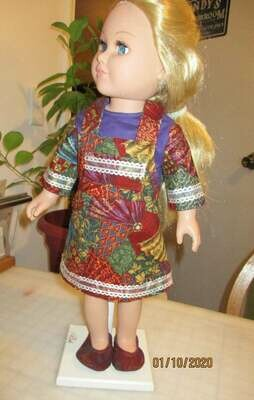 Multi-colored Bibbed Jumper and Shirt with Slip on Shoes for 18