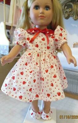Red Hearts and Ribbon Doll Dress with Matching Slip On Shoes For 18