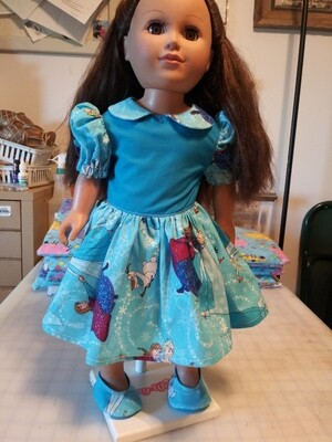 Anna,, Elsa, & Olaf Print dress with Matching Shoes For 18