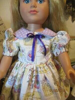 Purple Easter Egg Print Doll Dress For 18