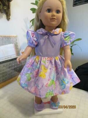 Sparkly Butterflies on Glittery Lavender Doll Dress for 18