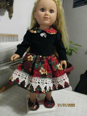 Christmas Print Doll Dress With Matching Slip On Shoes and Panties for 18