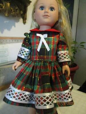 Christmas Plaid Red, Green, & Gold Plaid Doll Dress With Matching Panties, and Slip On Shoes for 18