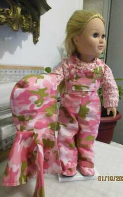 Pink Camouflage Bib Overalls and Hooded Jacket for 18