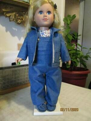 Denim Bib Overalls, Jacket, Shoes, with Floral Blouse for 18