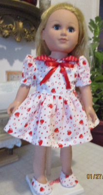 Red Hearts & Polka Dots Doll Dress, Panties and Slip on Shoes  For 18
