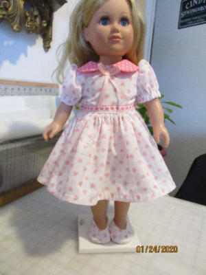 Pink Hearts Doll Dress with Matching Slip On Shoes for 18