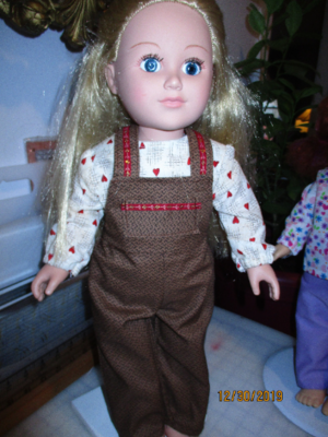 Brown Print Bib Overalls with long sleeve shirt & Matching Slip on Shoes for 18