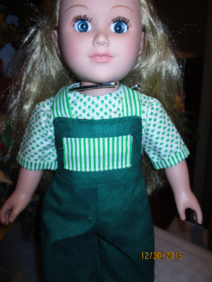 Green Bib Overalls with color coordinating Blouse and Slip On Shoes,  fits The American Dolls, My Life Dolls, And Our Generation Dolls.