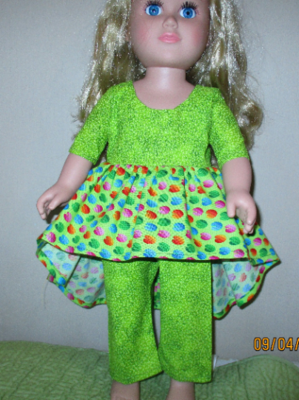Multi colored Dress with matching doll Slip On Shoes And Pants for 18