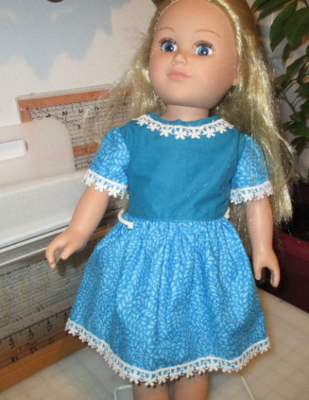 Lace Trimmed Teal Blue Dress with slippers and Panties for 18