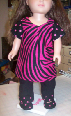 Black & Pink zebra striped Doll Dress with Black pants with pink polka dot Trim with Matching Slip on Shoes. fits 18