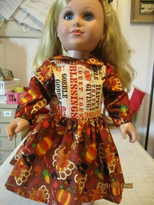 Thanksgiving Print Dress with Long Sleeves and Full Skirt for 18