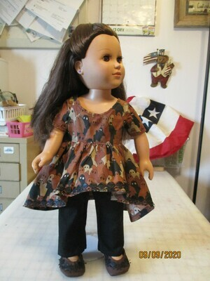 Ghostly Print Doll Dress and Black Pants to fit 18